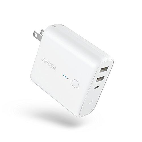Anker PowerCore Fusion 5000 (5000mAh モバイルバッテリー搭載 USB急速充電器) 【PSE認証済/PowerIQ搭載/折りたたみ式プラグ搭載】 iPhone、iPad、Android各種対応 (ホワイト)