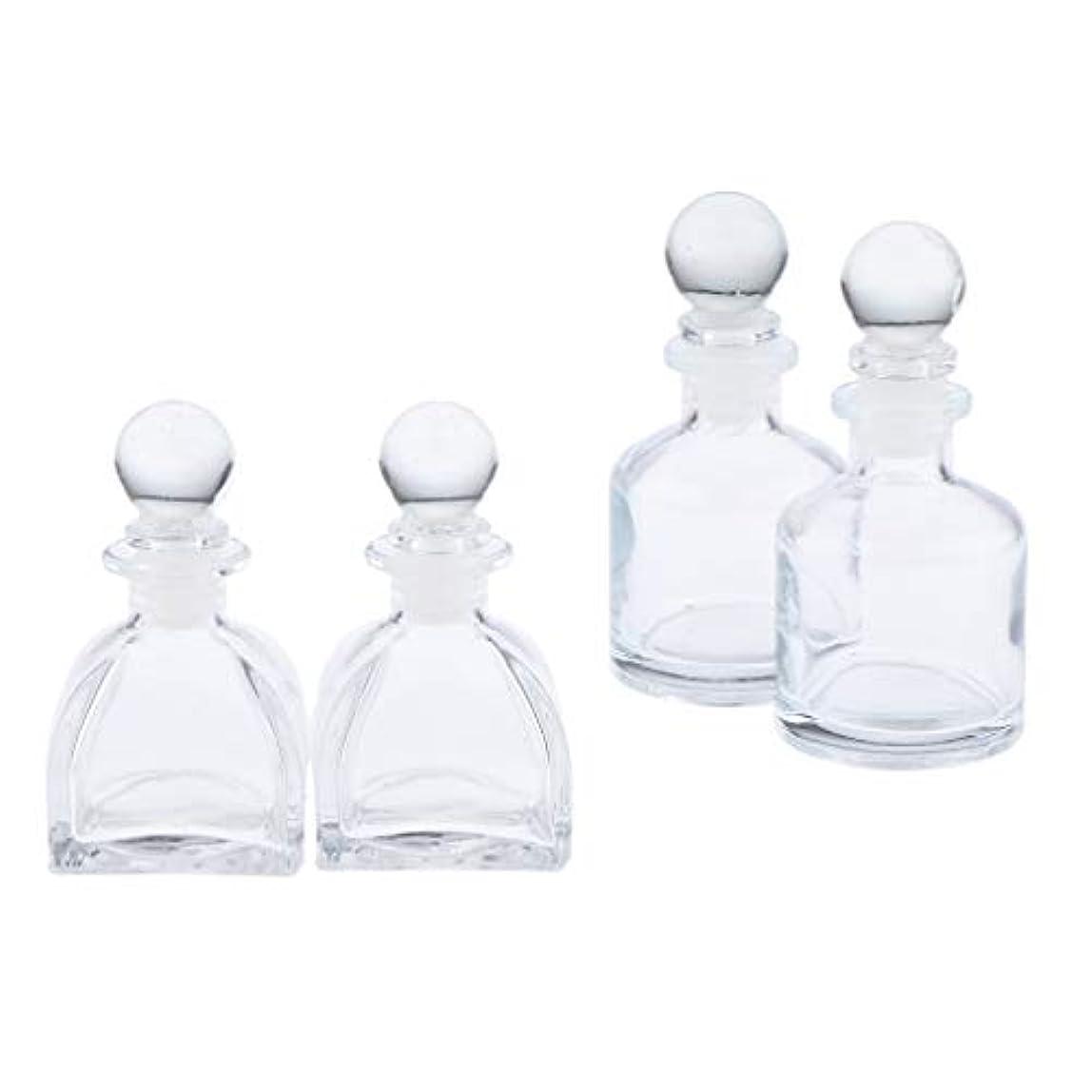 肉屋用心する粘着性F Fityle 香りディフューザーボトル 香水瓶 フレグランス瓶 詰替え容器 ガラスボトル 全4個