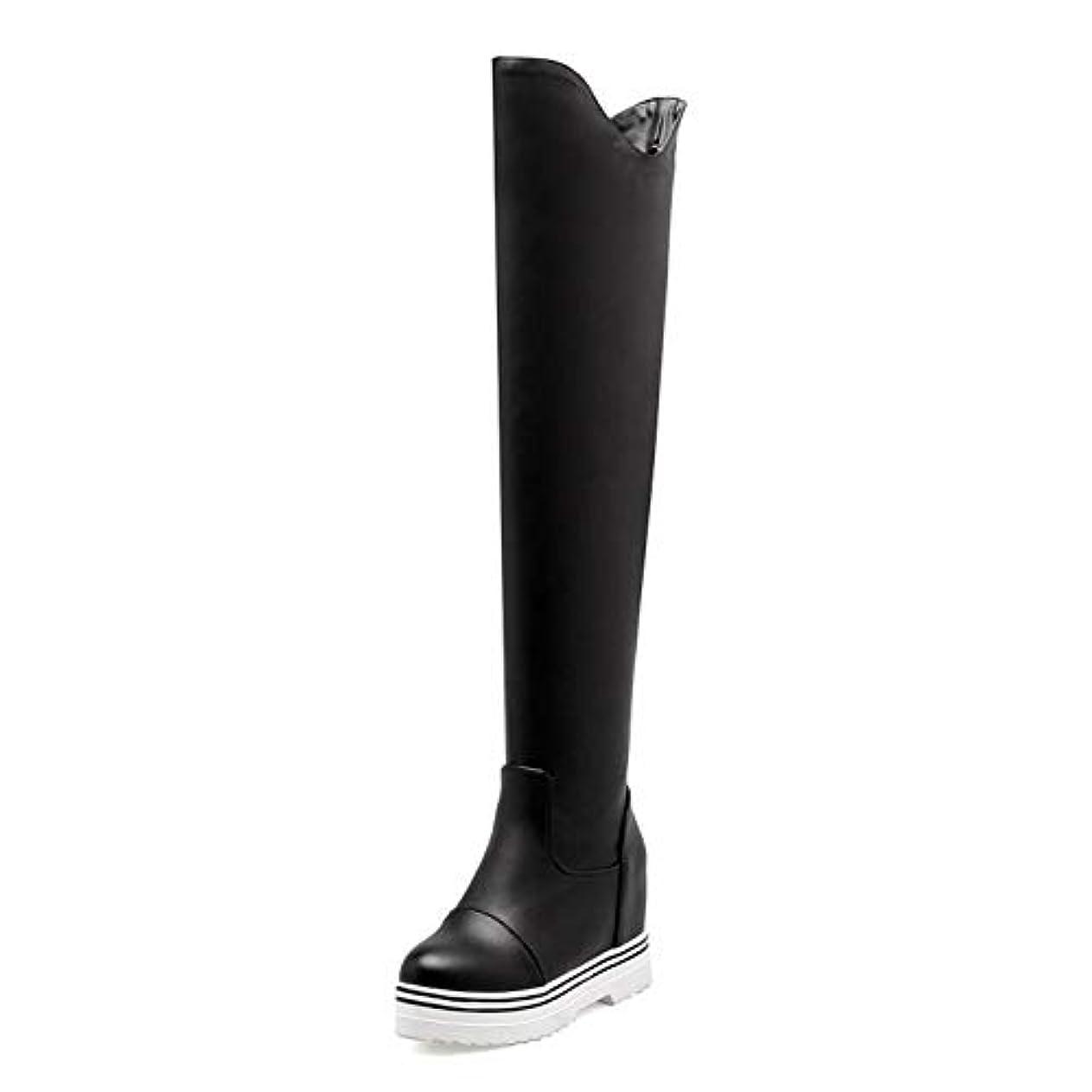 好意リテラシーメニュー女性の靴、秋冬の騎士のブーツ、甘いファッションのブーツ、女性ナイトクラブパーティーのための膝のブーツのシンプルなソリッドカラー (色 : ブラック, サイズ : 41)
