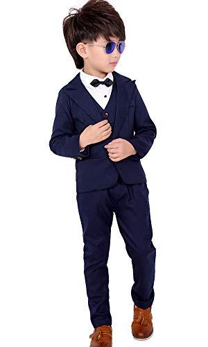 SIJIYIREN キッズ フォーマル スーツ 男の子 スーツ 紳士服 発表会 入園式 入学式 卒業式 結婚式 七五三 誕生日 (ネイビー(3点セット), 150)