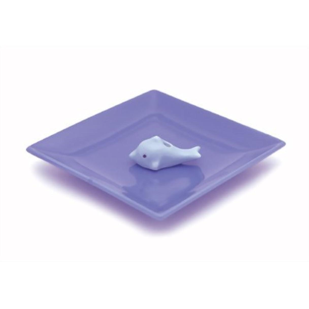 直面する痴漢広々とした陶器香皿&イルカ香立ブルー