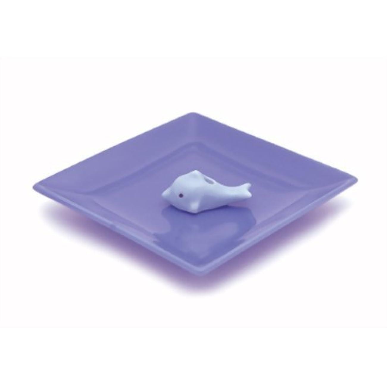 中毒訴えるカート陶器香皿&イルカ香立ブルー
