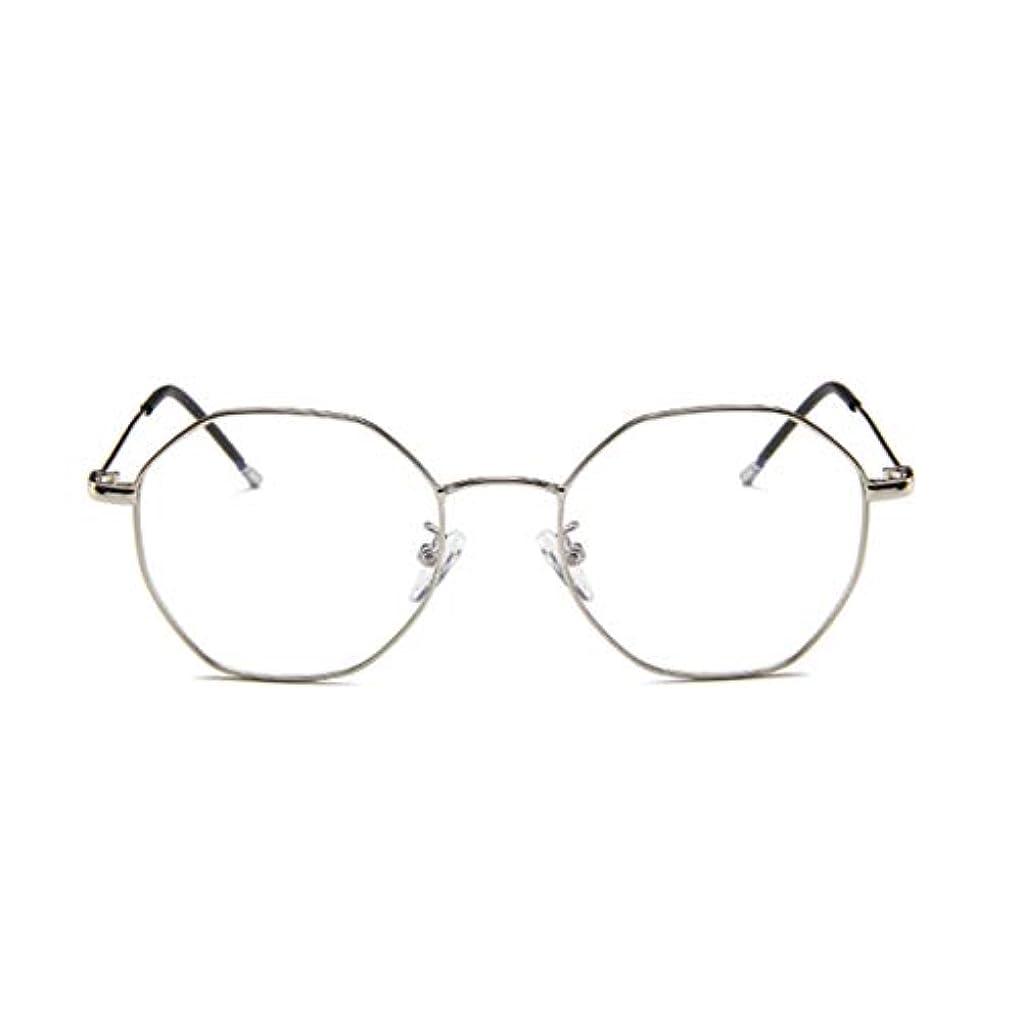 さわやか窒素欺ファッションメガネ近視多角形フレーム韓国語版金属フレーム男性と女性のための不規則なフラットグラス-スライバー