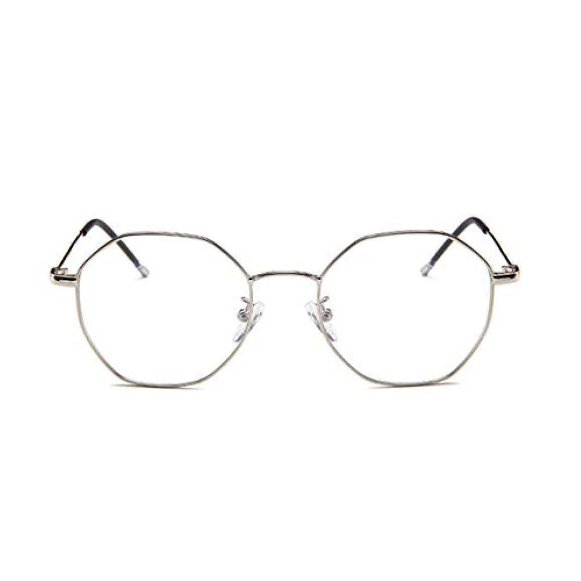 タイトル地殻議題ファッションメガネ近視多角形フレーム韓国語版メタルフレーム男性と女性のための不規則なフラットガラス-スライバー-