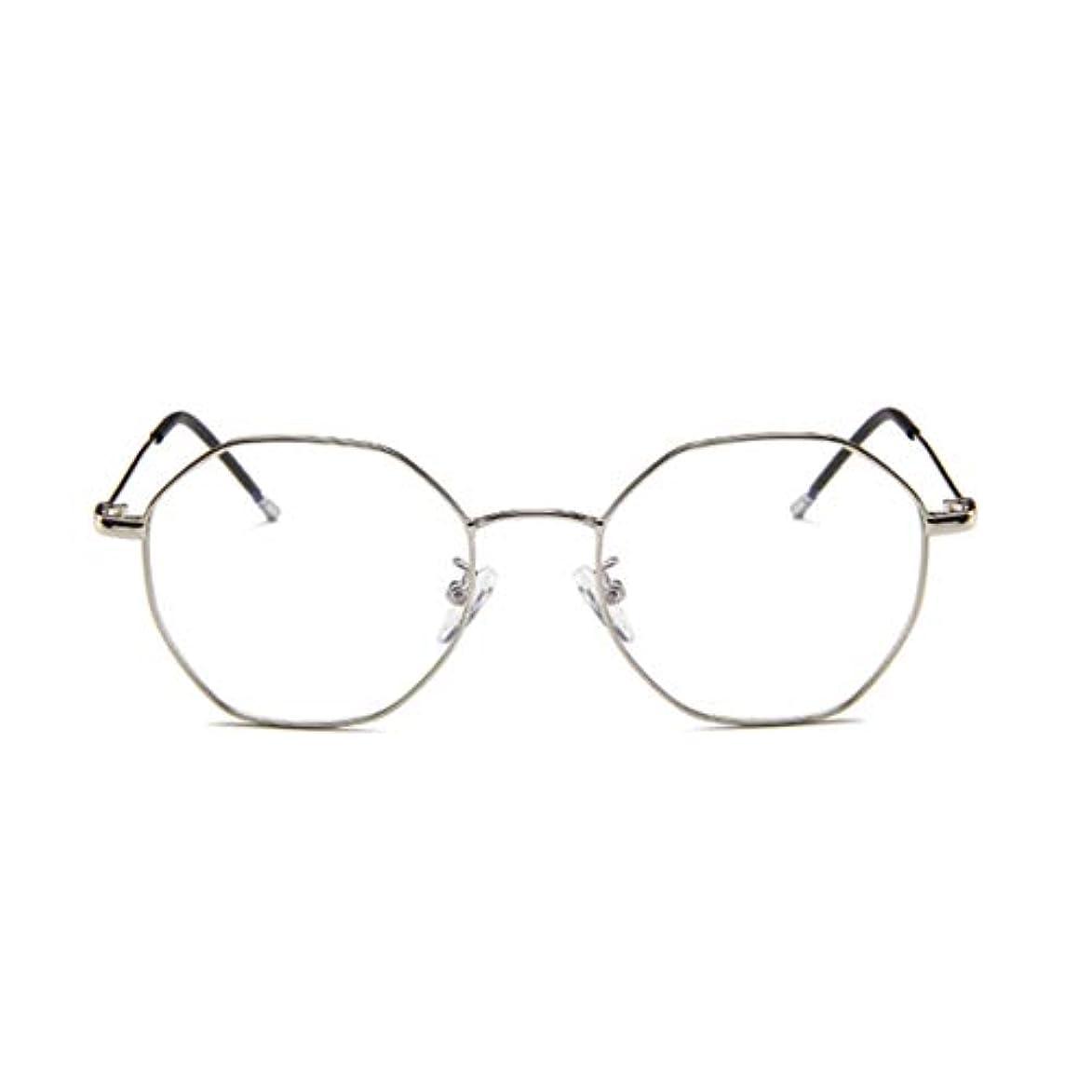 スーパー高音擬人化ファッションメガネ近視多角形フレーム韓国語版金属フレーム男性と女性のための不規則なフラットグラス-スライバー