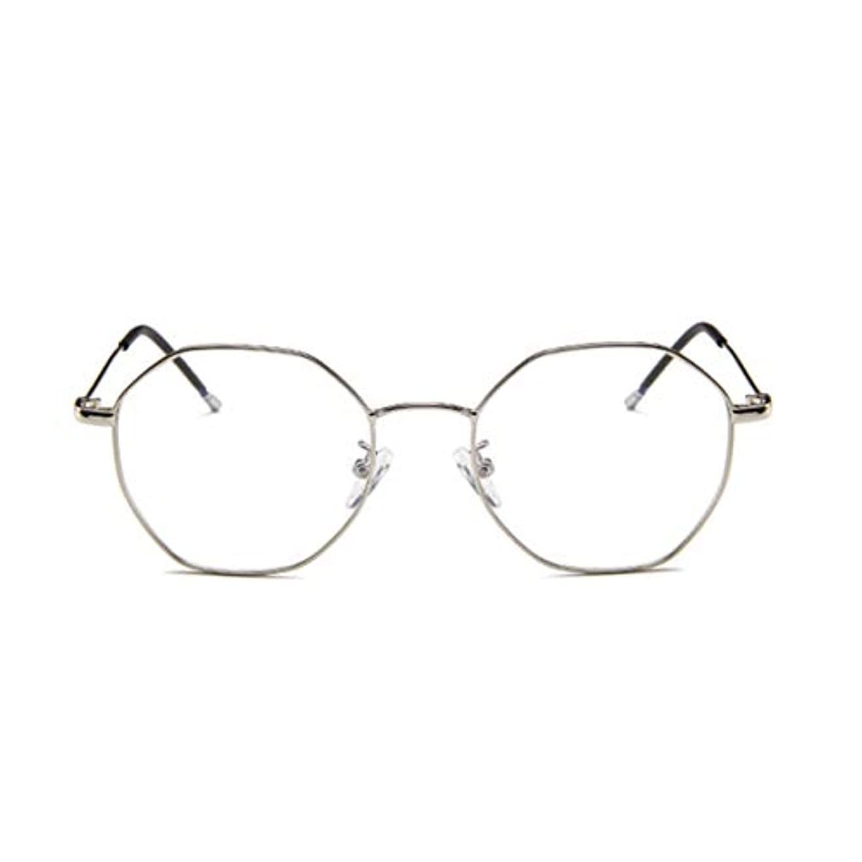 マイクロプロセッサ評判有力者ファッションメガネ近視多角形フレーム韓国語版メタルフレーム男性と女性のための不規則なフラットガラス-スライバー-