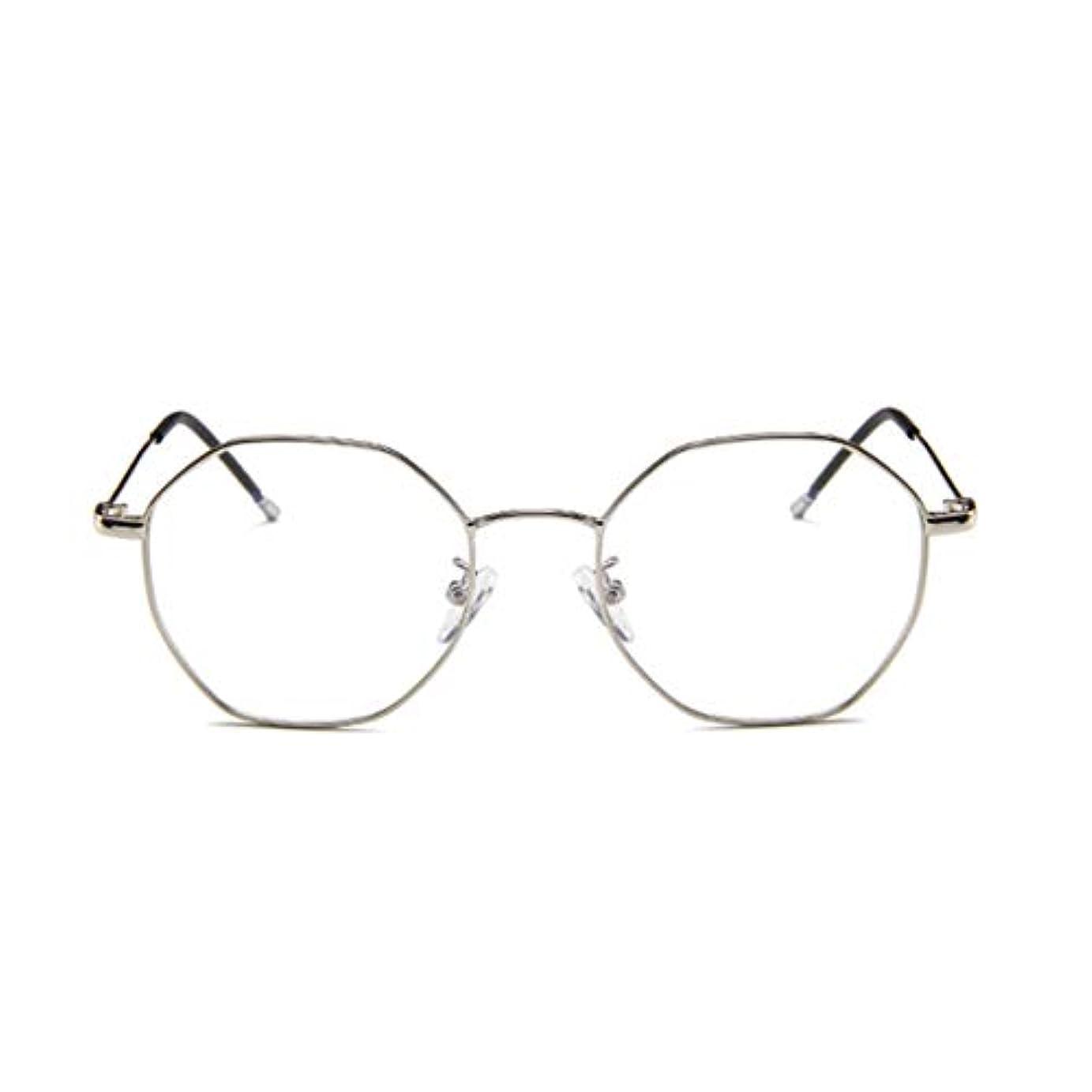 理容室ポテト練るファッションメガネ近視多角形フレーム韓国語版メタルフレーム男性と女性のための不規則なフラットガラス-スライバー-