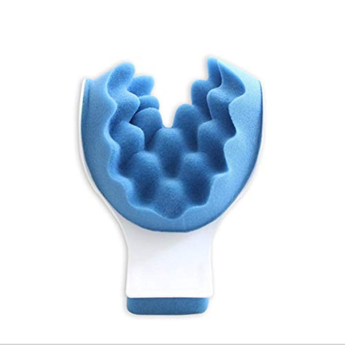 エンターテインメント音声学猫背マッスルテンションリリーフタイトネスと痛みの緩和セラピーティックネックサポートテンションリリーフネック&ショルダーリラクサー - ブルー
