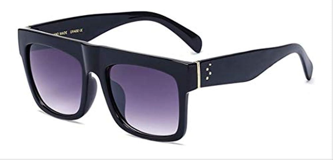 ひねり男性みぞれAMKLLEN  ファッションスーパースクエアメガネヴィンテージ女性サングラスブランドデザイナーフラットトップクリアレンズショッピングパーティー旅行屋外眼鏡  光沢のあるブラックグレー