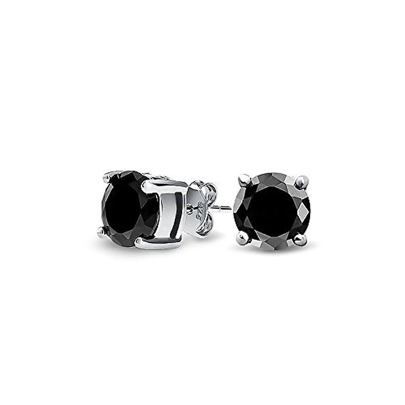 レオナルドダトマト酸化物[ブリング?ジュエリー] Bling Jewelryスターリング シルバー SILVER 925 ブラック CZ 丸型 メンズ スタッド ピアス 5mm [インポート]