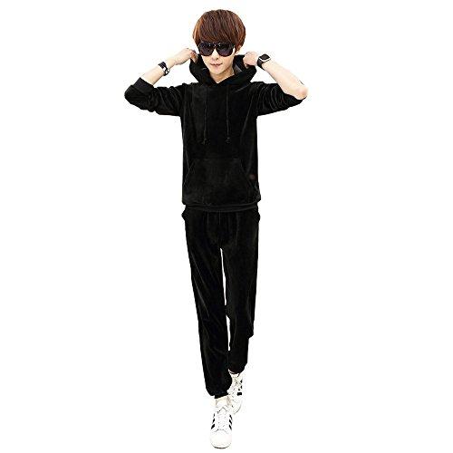 セットアップ ジャージ ベロア スポーツ ストリート ダンス 韓国風(エコバッグ付き)M-557Black5
