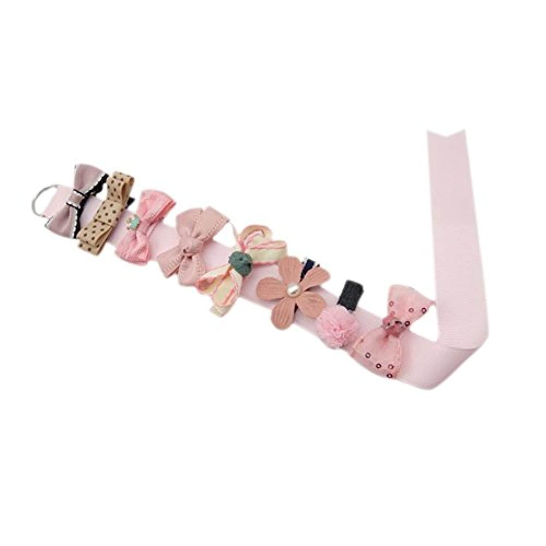 Nice Days(ナイス ディズ) 【8個セット】ヘアアクセサリー 子供用 ヘアクリップ 髪飾り かわいい 花 蝶結び (ピンク)