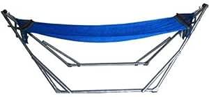 折りたたみ自立式スタンド付きポータブルハンモック 【M】サイズ(ブルー)