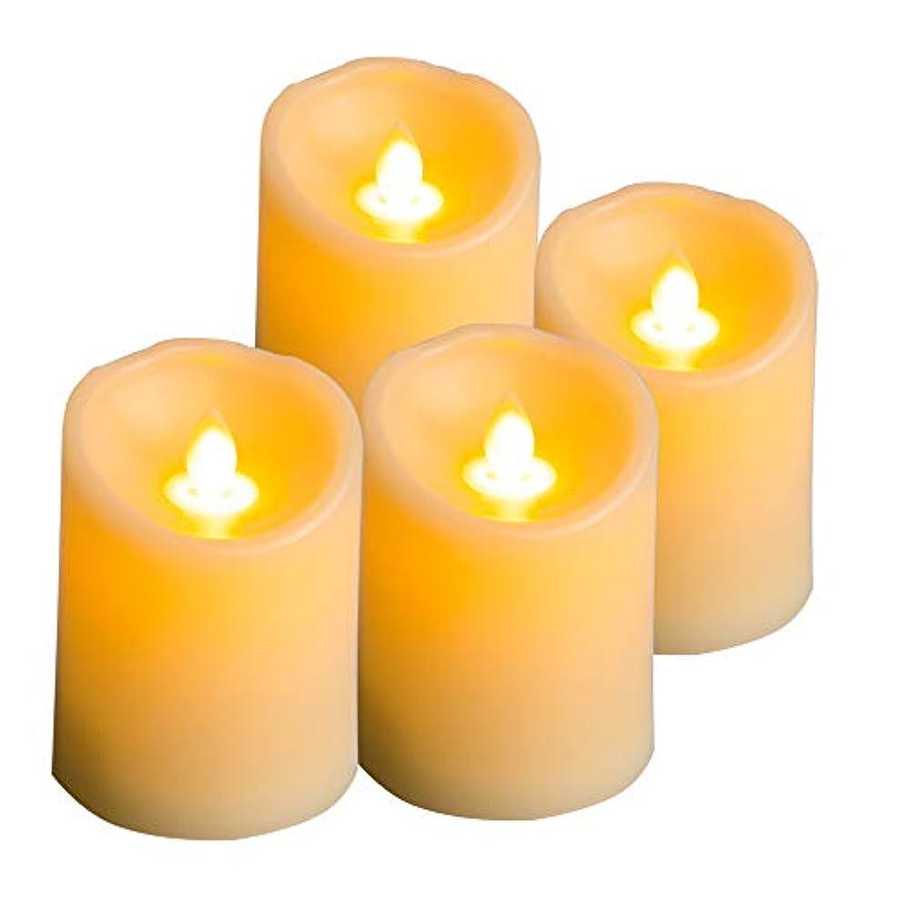 勤勉メリー先見の明プレミアムフレームレスLEDティーライトキャンドル リアルな揺らめく芯 電池式 電気フェイクキャンドル 季節やお祝いに 4個パック 温かい琥珀色