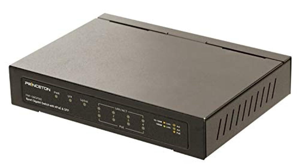 報復サンダース鋼プリンストン スイッチングハブ PoE対応 【IEEE 802.at規格PoEポートx4(最大65W)/UpLinkポート(RJ45)x1/SPFポート x1】 PNP-SWGP06E