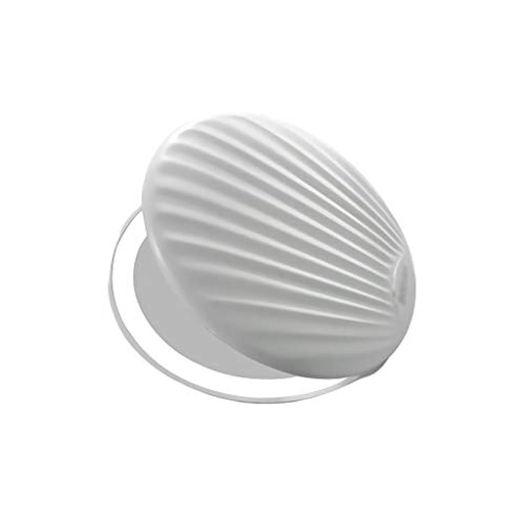 高品質化粧鏡 小型ポータブル折りたたみミラー付きライト小型ミラーで充電LEDシェル化粧鏡 ポータブル (Color : White, サイズ : 9*9cm)