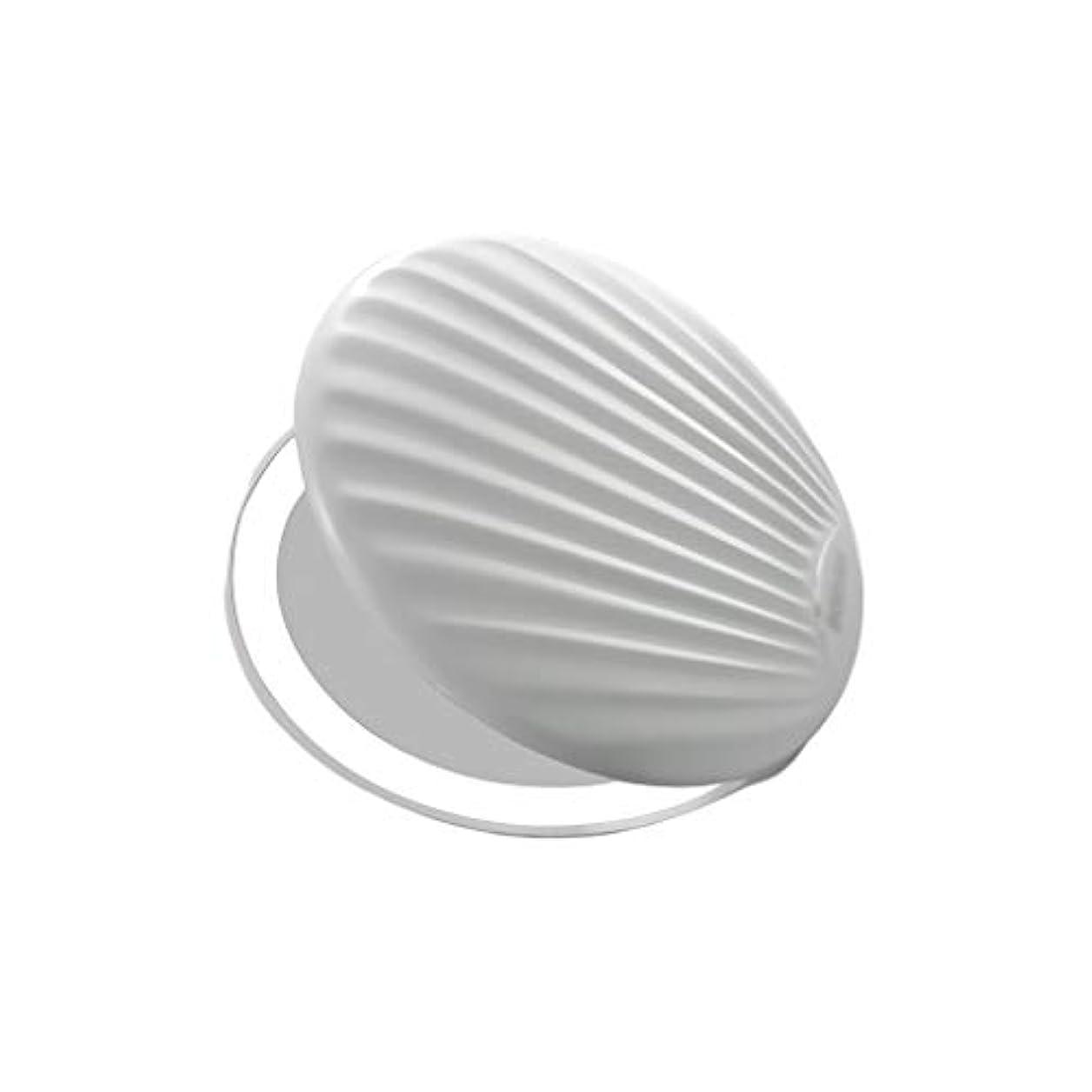 オークションコントロールやさしい高品質化粧鏡 小型ポータブル折りたたみミラー付きライト小型ミラーで充電LEDシェル化粧鏡 ポータブル (Color : White, サイズ : 9*9cm)