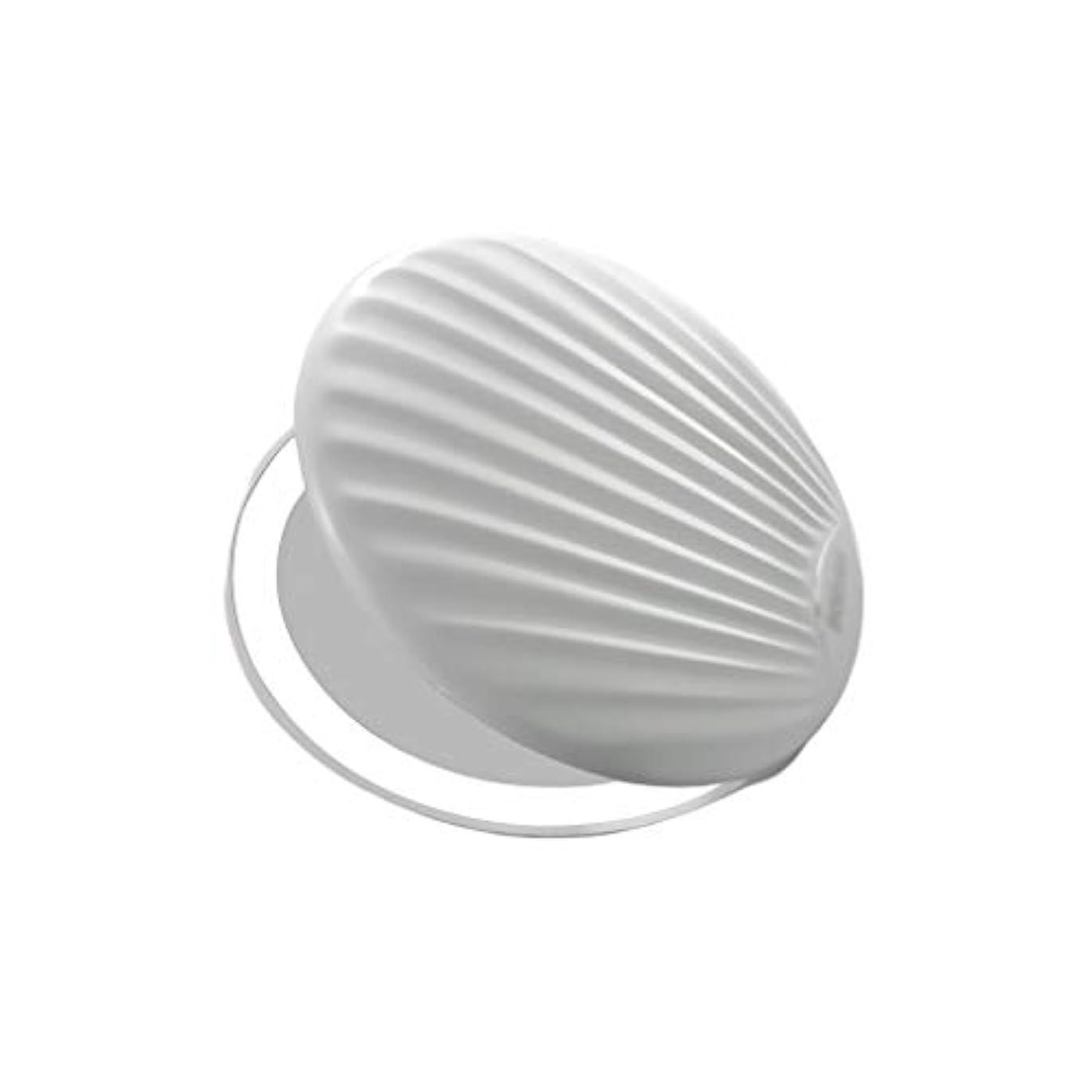 科学者掘るカップル高品質化粧鏡 小型ポータブル折りたたみミラー付きライト小型ミラーで充電LEDシェル化粧鏡 ポータブル (Color : White, サイズ : 9*9cm)
