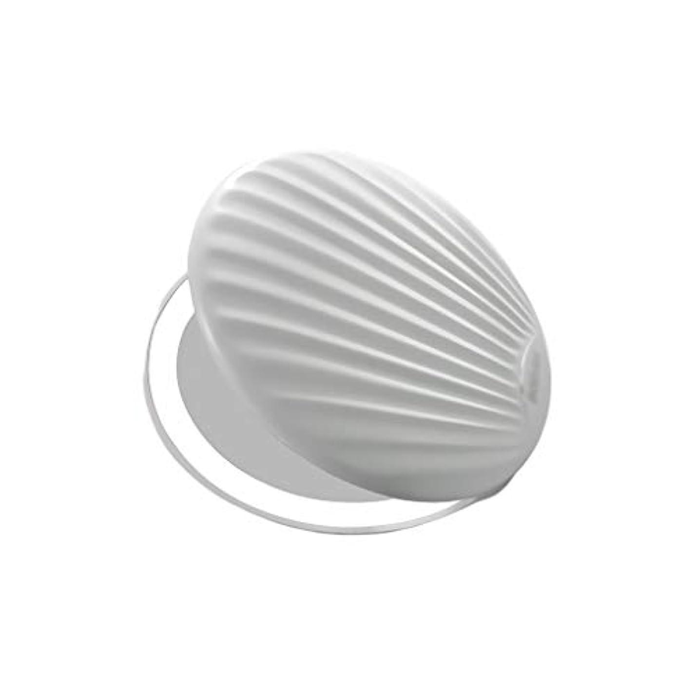 広い細分化する委員会高品質化粧鏡 小型ポータブル折りたたみミラー付きライト小型ミラーで充電LEDシェル化粧鏡 ポータブル (Color : White, サイズ : 9*9cm)