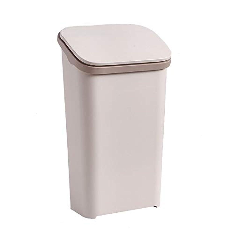 徒歩で帝国試験ふたが付いている大容量の長方形のプラスチックゴミ箱、白/灰色/茶色(20リットル/ 5.35ガロン) (色 : ブラウン ぶらうん)