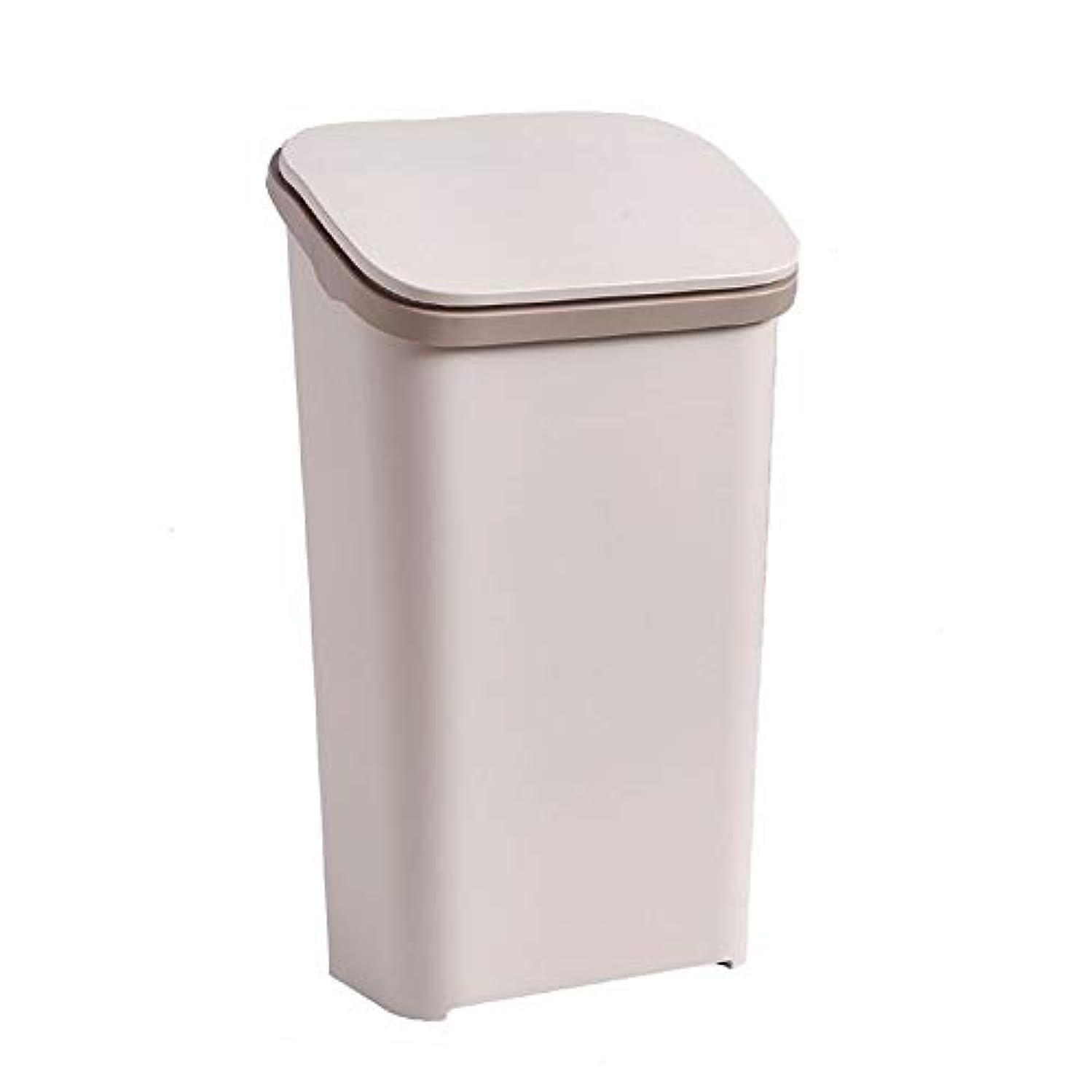 保全部門瀬戸際ふたが付いている大容量の長方形のプラスチックゴミ箱、白/灰色/茶色(20リットル/ 5.35ガロン) (色 : ブラウン ぶらうん)