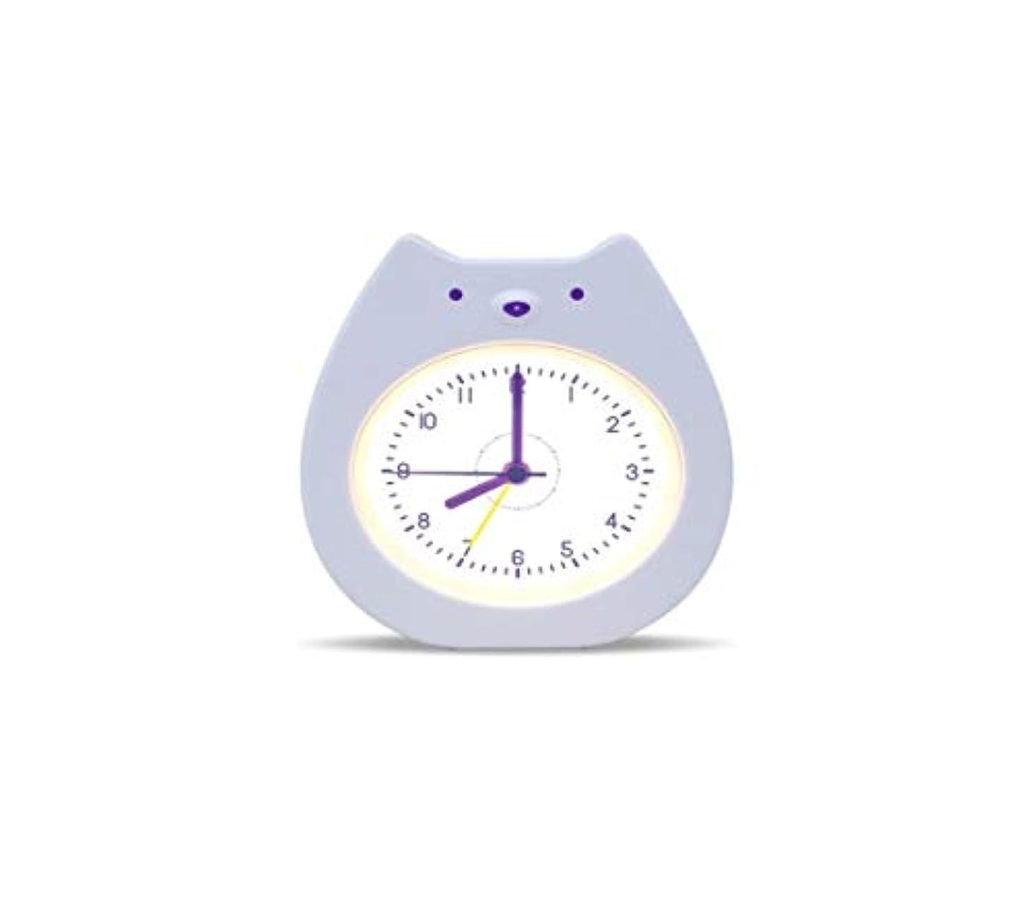 いくつかの例外裂け目Kaiyitong001 目覚まし時計、かわいい漫画の目覚まし時計、多機能の創造的な寝室のベッドサイドクロック、学生専用、男性と女性の静かな夜の光(白) (Color : White)