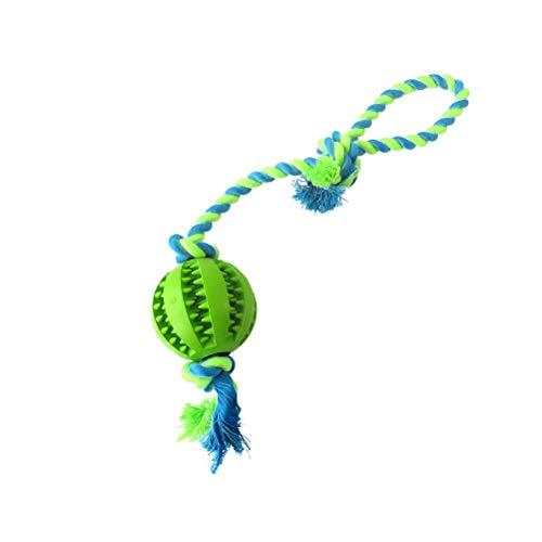 POPETPOP ペットロゴを洗浄ロープトリプルディスペンサーボール噛むおもちゃの歯のクリーニングボ...