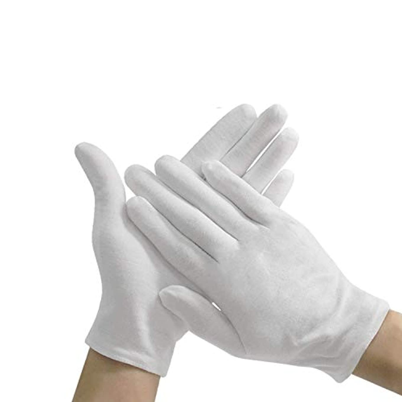 レンディション辛い気をつけてコットン手袋 純綿100%耐久性が強い上に軽く高品質伸縮性通気性抜群 白 12双組