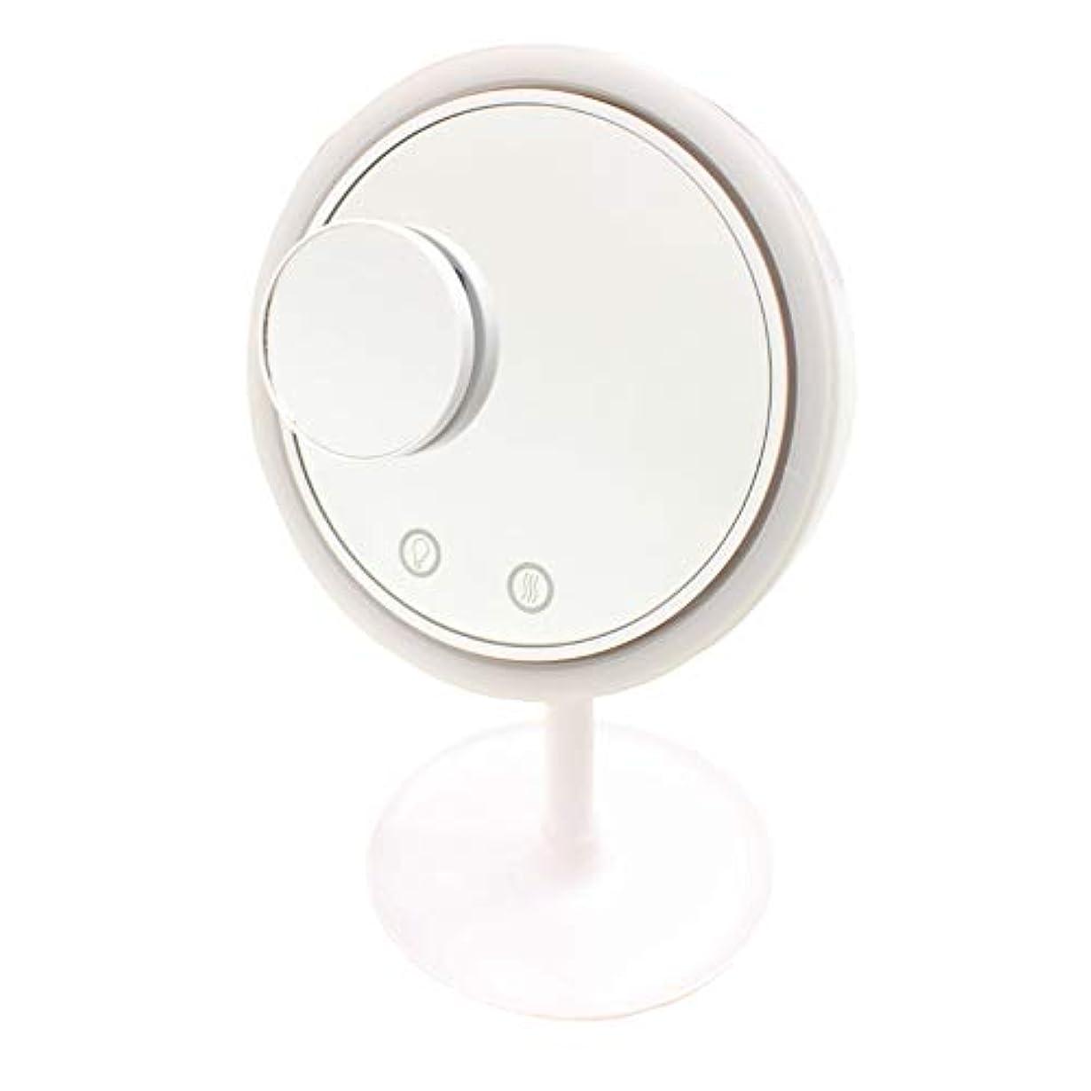 複雑なドナー権威Filomena LEDライト メイクアップミラーファン (ホワイト)