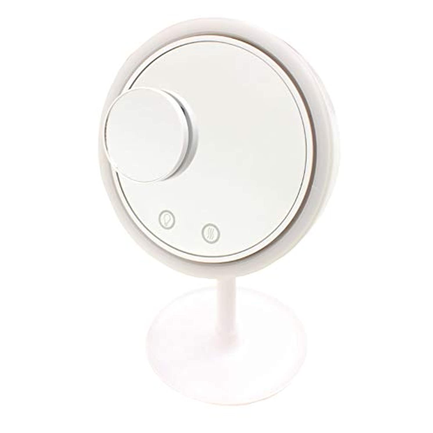 電気陽性ホット分Filomena LEDライト メイクアップミラーファン (ホワイト)