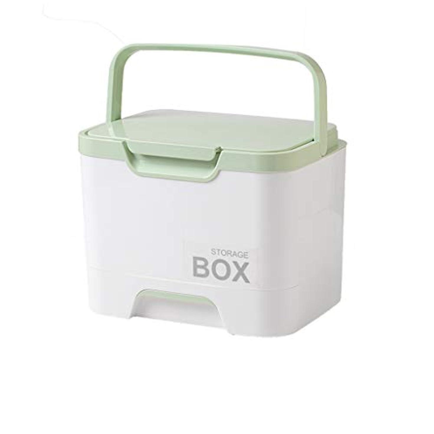 二層の救急箱は4色を使用して学校旅行の自動運転旅行のために適した薬剤の箱を任意で入れます SYFO (Color : Green)