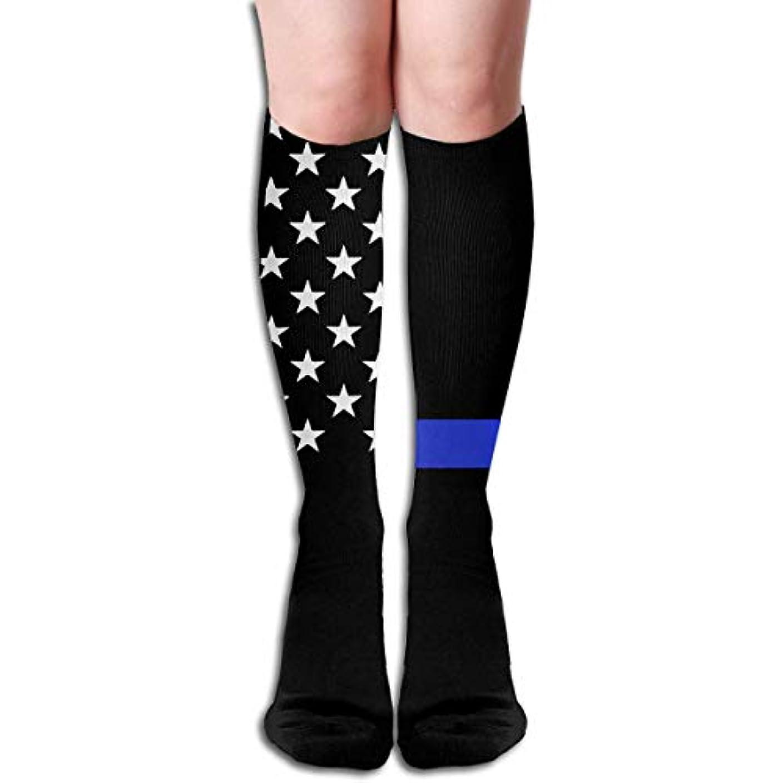 屈辱する聞きます警告qrriy女性の青細いラインテキサスソフトクリスマス膝高ストッキング靴下、クリスマス楽しいカラフルなドレスソックス