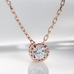 一粒 ダイヤモンド ネックレス k10ゴールド 【ミル打ち】 選べる3色 【ホワイトゴールド】 ミルグレイン 一粒石ダイヤモンド ペンダント 【ギフトラッピング済み】 【品質保証書】