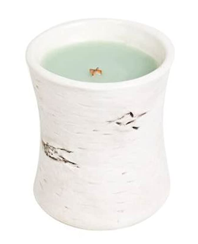 ホワイトWillow Moss – Birchセラミック砂時計Scented Candle by WoodWick