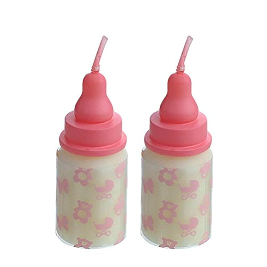 ビザ適応的ギャングBESTOYARD 2本ベビー誕生日ケーキキャンドル看護ボトルの形の子供子供の誕生日パーティケーキの装飾(ピンク)