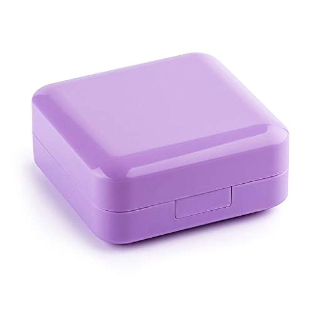 魚近くマットレスWXYXG 薬箱の密封された防湿サブボックスピルピル分割された耐光キットの週とミニポータブル小さなピルボックス (Color : Purple, Size : 7.6cm×7.6cm×3.5cm)