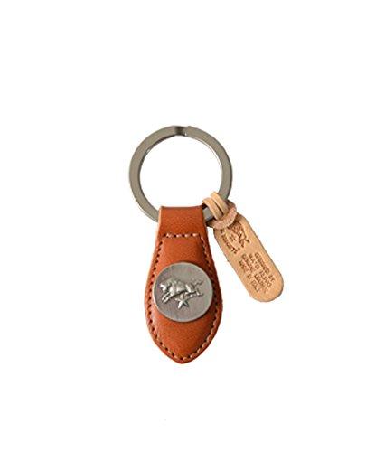 国内正規販売店 (イルビゾンテ) IL BISONTE シルバーロゴプレート レザーキーリング・5452305050 ユニセックス