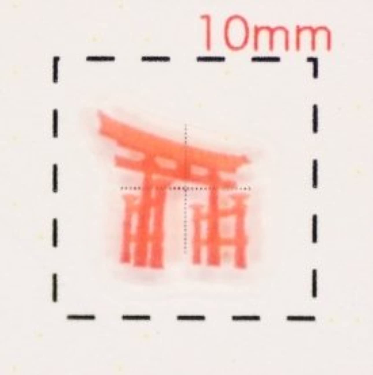 安価な見物人電子レンジ鳥居(1)【和風(お正月?成人式)ネイルシール】(赤)/1シート16枚入