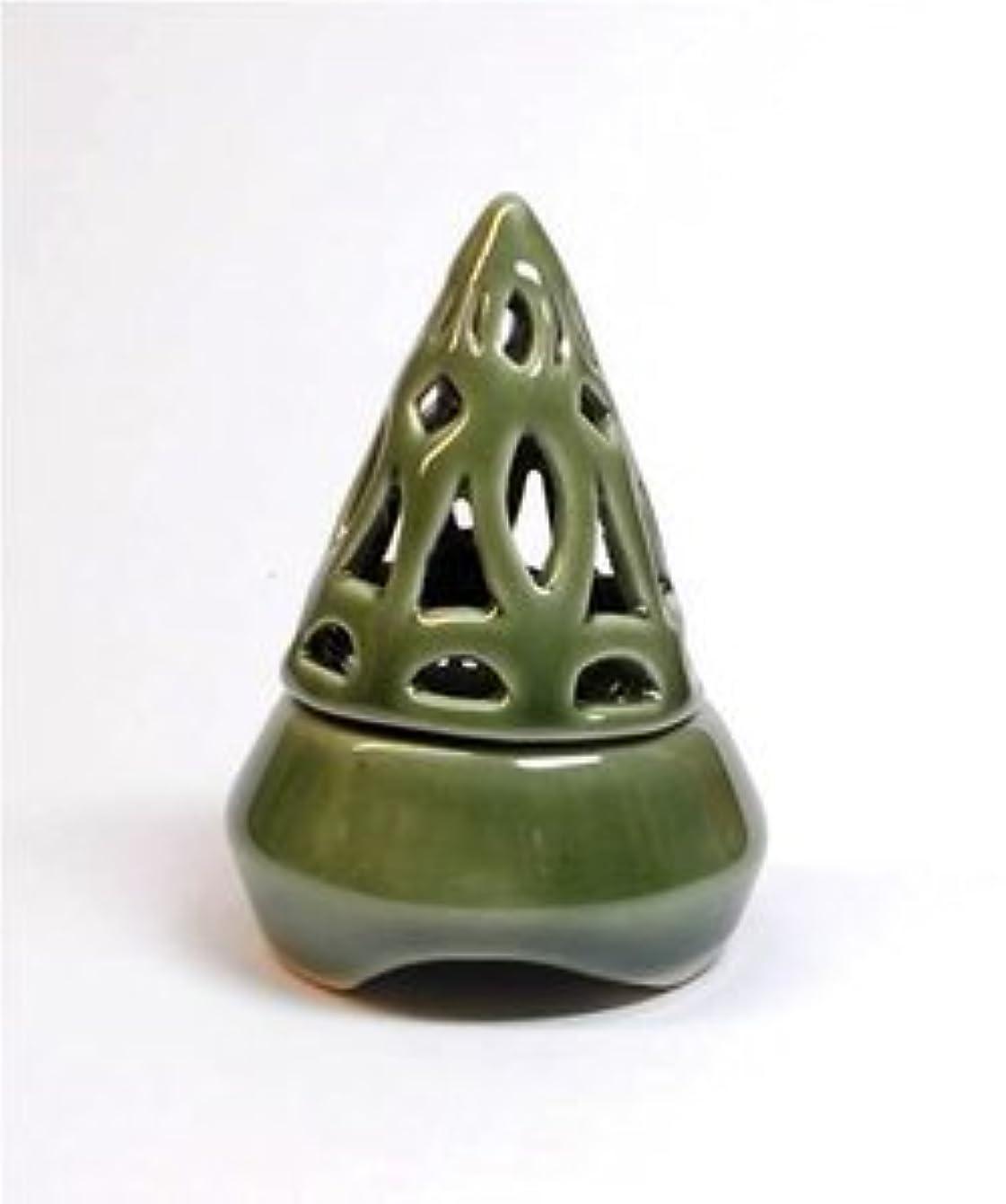 振り向く自慢泣き叫ぶ香炉コーン型 緑 インセンス ホルダー コーン用 お香立て アジアン雑貨