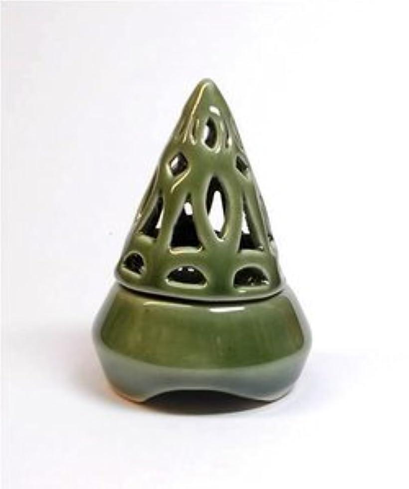 丁寧ベスビオ山テスピアン香炉コーン型 緑 インセンス ホルダー コーン用 お香立て アジアン雑貨