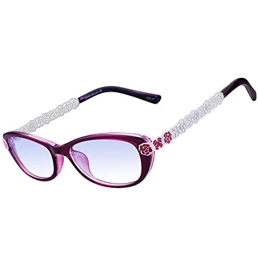 インテリジェントズーム老眼鏡、アンチブルーレイレディース老眼鏡、寺院の金属刻まれたファッション超軽量、遠近両用スタイル
