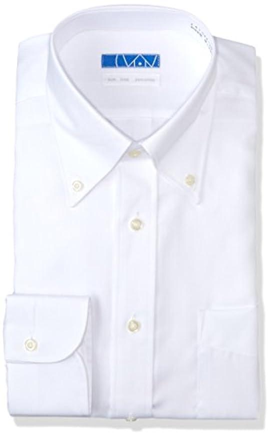スモッグいま咳【dresscode101】洗って干してそのまま着る メンズノーアイロンワイシャツ 長袖 超形態安定 綿100% 白 ツイル ボタンダウン L(裄丈84)