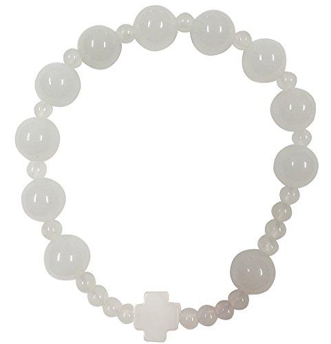[해외]천연석 묵주 팔찌 옥수 \u203b 핸드 메이드/Natural stones Rosario bracelet Chalcedony * hand made