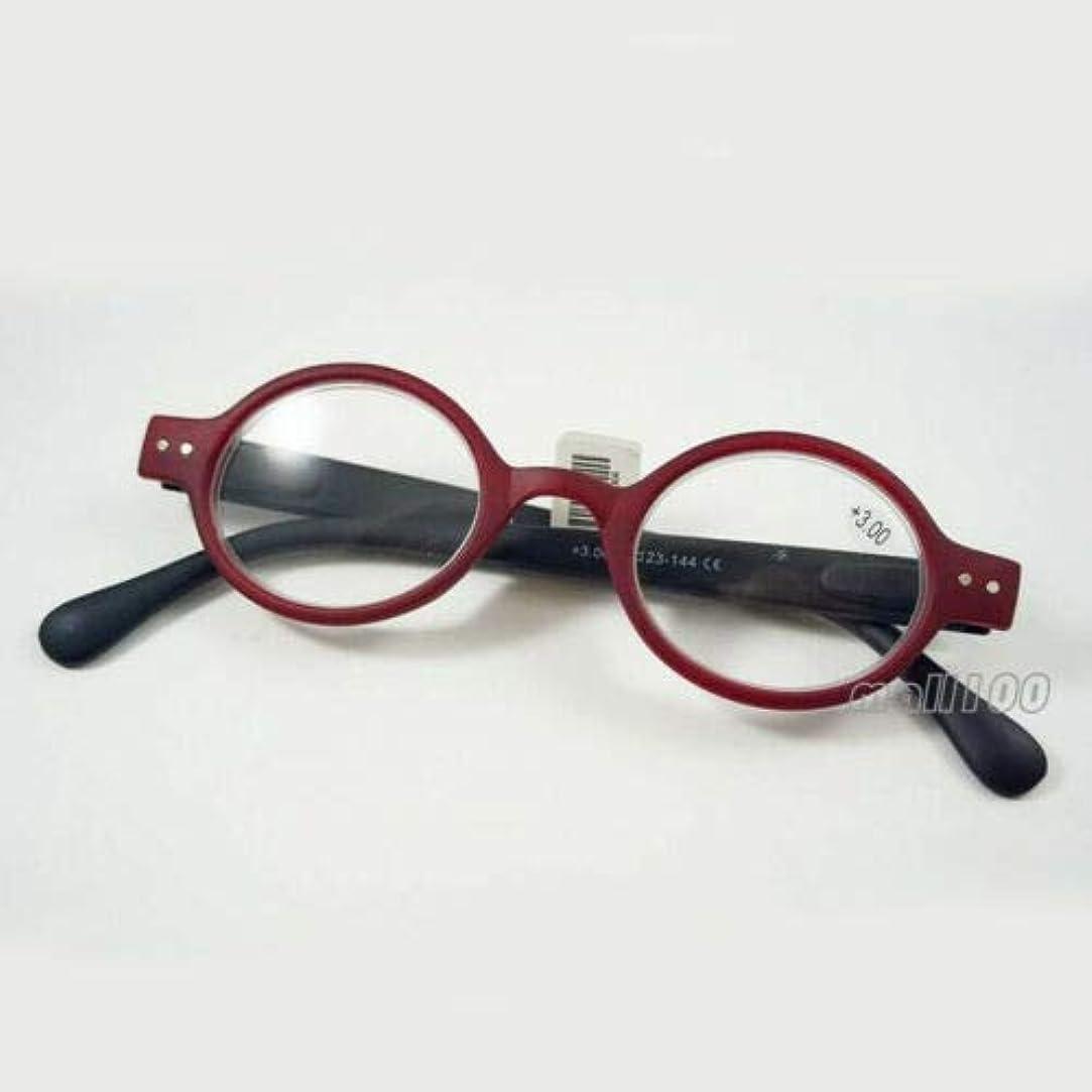 ハッピーふつうマイクFidgetGear ラウンドプラスチックレトロ老眼鏡フルフレームユニセックスブラックブラウンヒョウ赤 赤