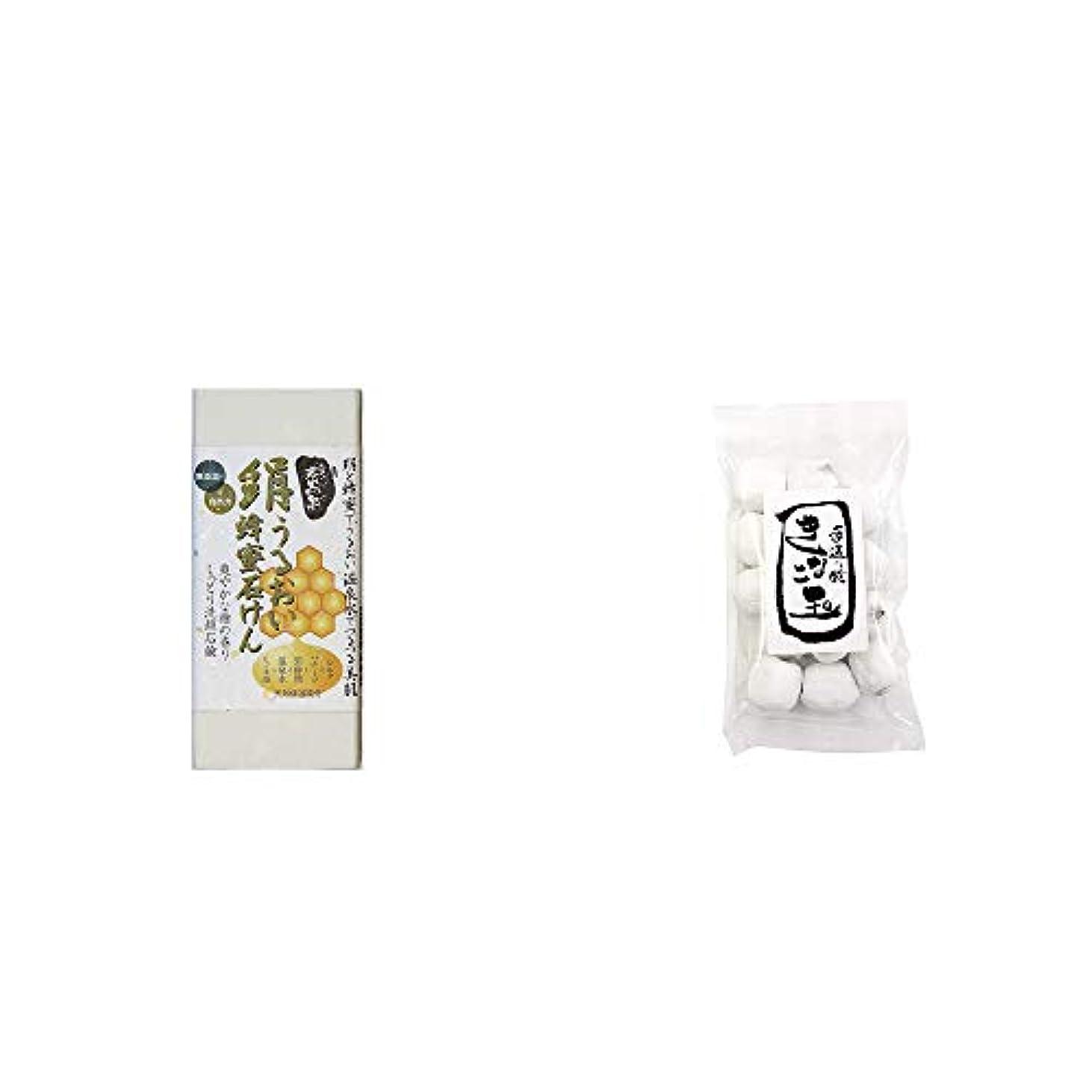 野な形容詞インシデント[2点セット] ひのき炭黒泉 絹うるおい蜂蜜石けん(75g×2)?きなこ玉(160g)