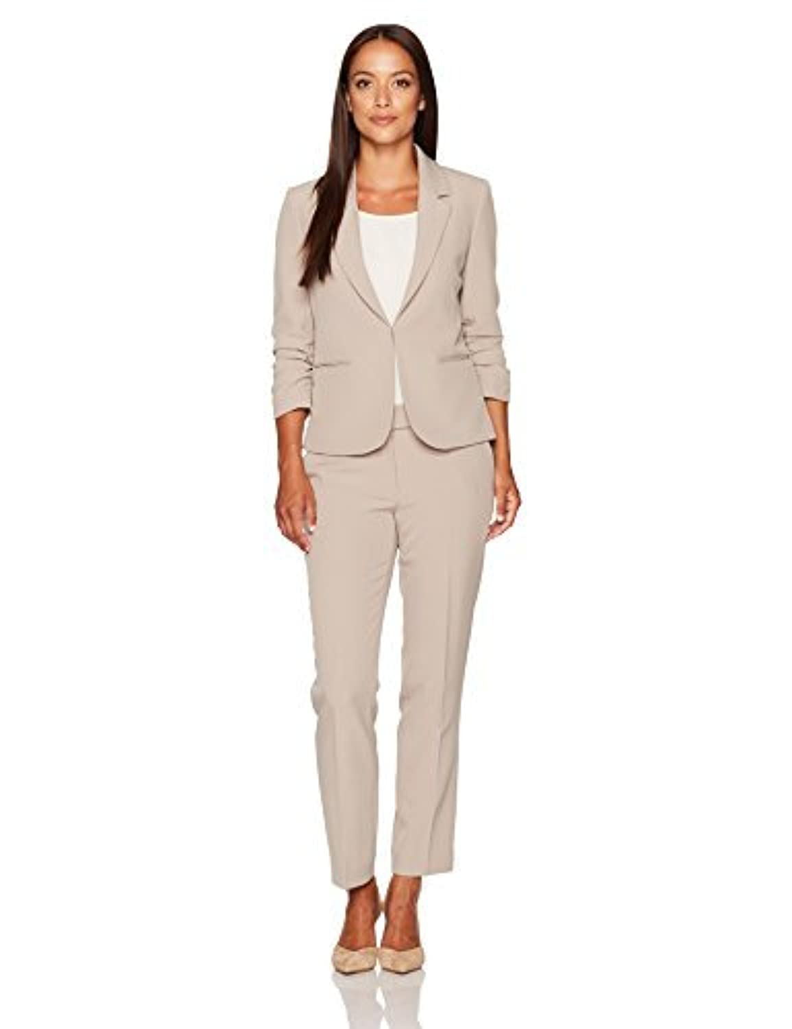 Tahari by Arthur S. Levine Women's Petite Size Stretch Crepe Pant Suit with Ruched Sleeves Beige 2P [並行輸入品]