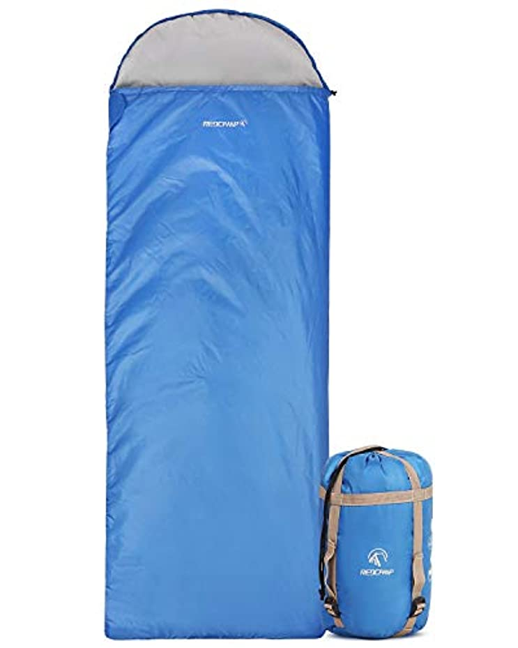先生スポークスマン重要な役割を果たす、中心的な手段となるREDCAMP Ultra Lightweight Sleeping Bag for Backpacking, Comfort for Adults Warm Weather, Hooded with Compression Sack Blue(87