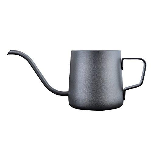 コーヒードリップケトル 細口ポット ステンレス製 テフロン塗装 (350ml, ブラック)