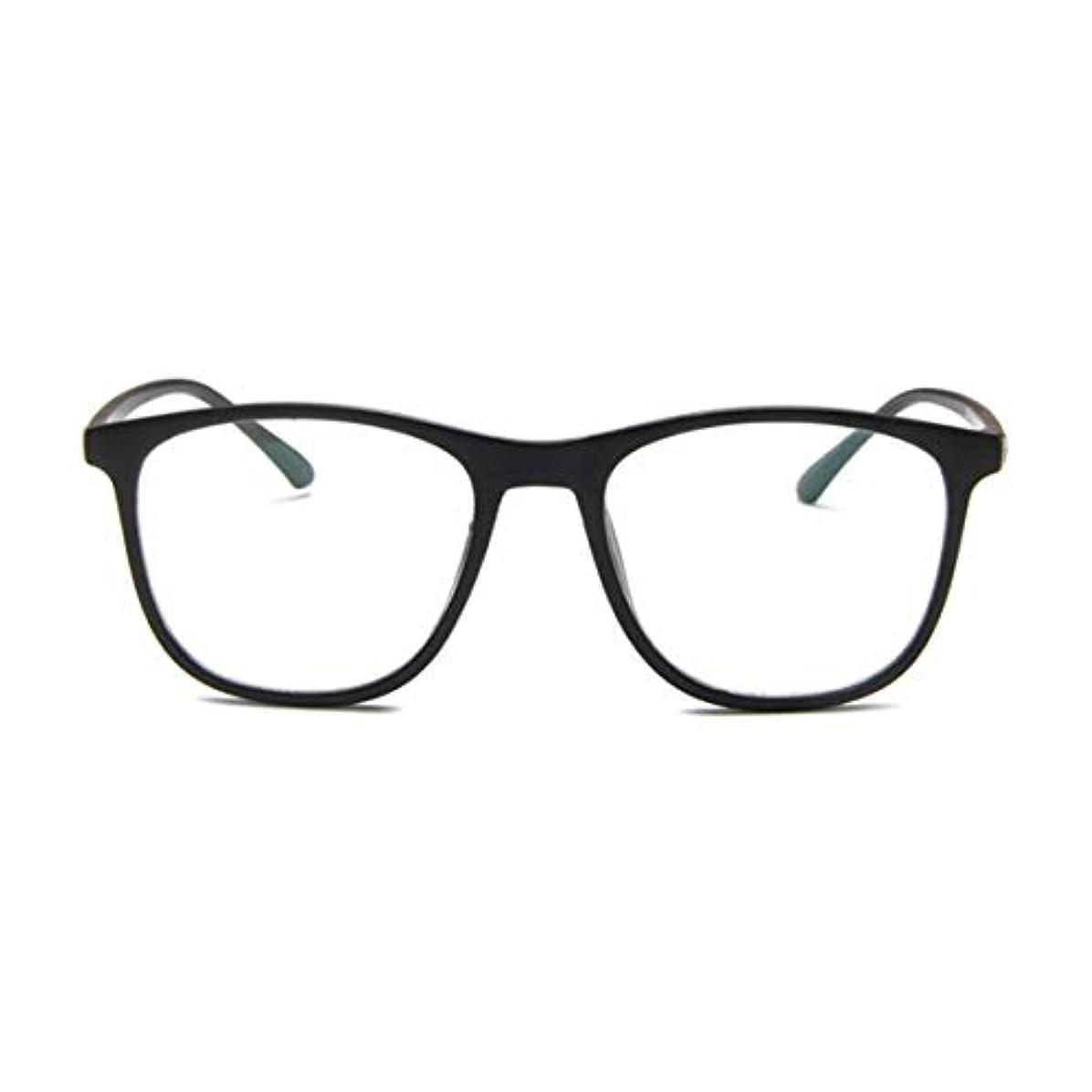 ケーキチャーム放送韓国の学生のプレーンメガネの男性と女性のファッションメガネフレーム近視メガネフレームファッショナブルなシンプルなメガネ-マットブラック