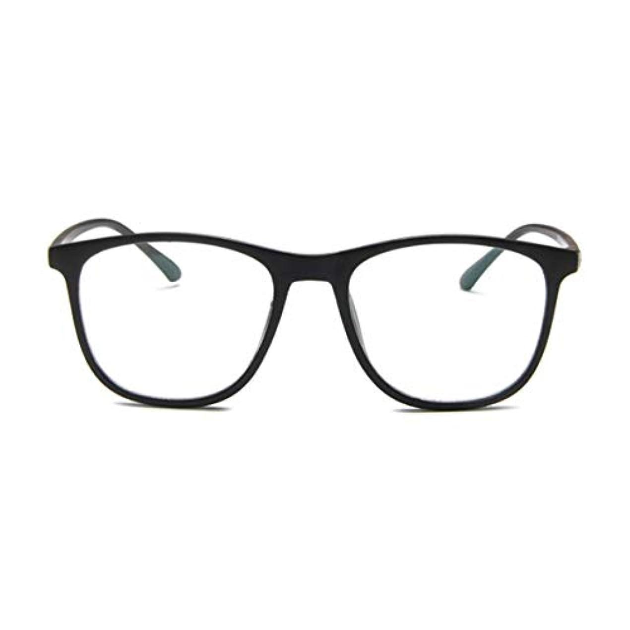 穏やかな団結するに変わる韓国の学生のプレーンメガネの男性と女性のファッションメガネフレーム近視メガネフレームファッショナブルなシンプルなメガネ-マットブラック